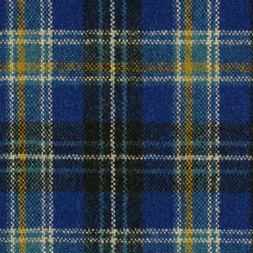 Maharam Upholstery Fabric Pressed Plaid Wool Cobalt Blue 1 Yd 466181