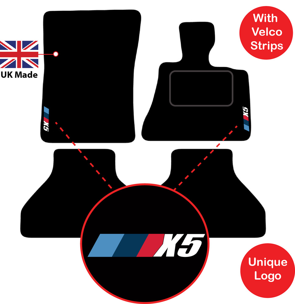 bmw x5 2006 to 2013 (e70) 5 seater tailored car mats m sport logo