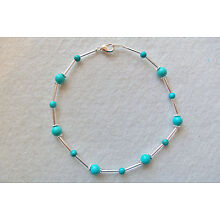 ANKLE BRACELET TURQUOISE Beads with Silver Glass Lined Bugle Beads NEW 9¾