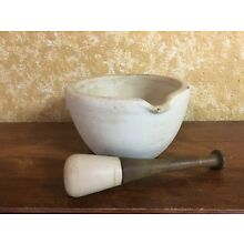 ANTIQUE STONE APOTHECARY MORTAR AND PESTLE STAMPED WARRANTED ACID PROOF TM&S 1/0