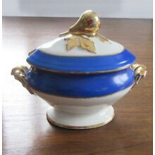 Small Old Paris Porcelain Tureen Pear Finial Blue Trim Covered Vegetable Antique
