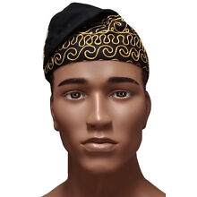 Black African Kufi Hat with Gold Embroidery  D3834H