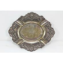 Antique Silver Plate Ashtray Ornate Ind Argentina Rep Sheffield Rodin ca. 1890's
