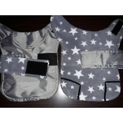 Teacup chihuahua . Waterproof dog coat .size xxxs. Grey with grey white stars