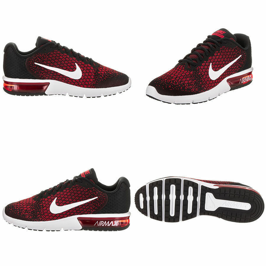 821edd6ad6 Details about NIKE New Men's Air Max Sequent 2 Running Shoe Black/Red (852461  006) Size 9.5