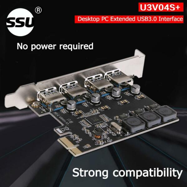 USB 4 Ports 5Gbps PCI-E to USB3.0 PCI-Express Controller Expansion Card Adapter