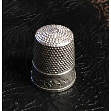 Vintage to Antique Flower & Leaves Pattern Sterling Silver Size 10 Thimble