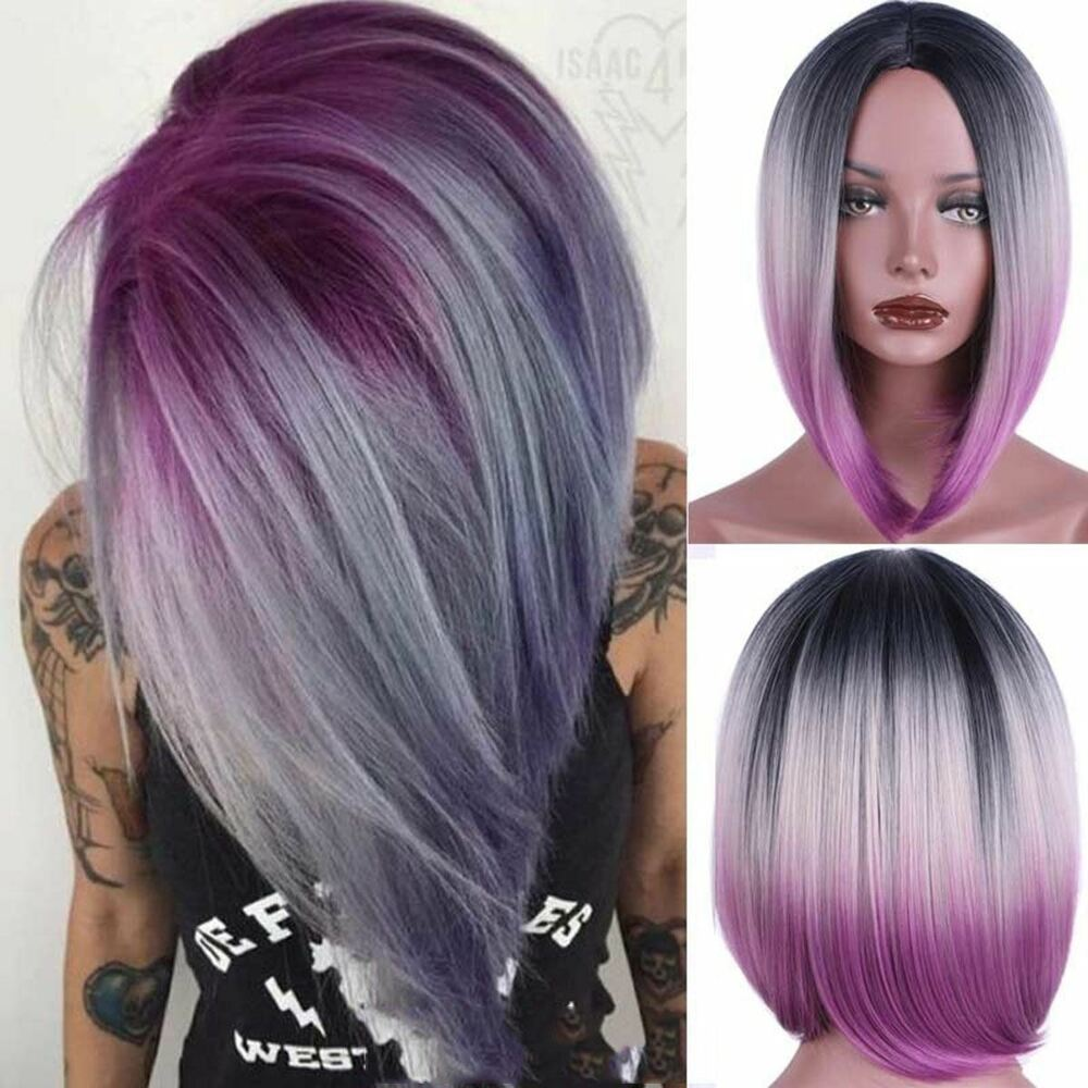 Details about Women Black Grey Gradient Purple Cosplay Wig BOB Short  Straight Bangs Synthetic 315c83f79