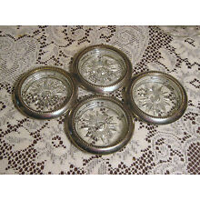 Set of 4 Vintage W&S Blackinton Glass & Silver Plate Coasters