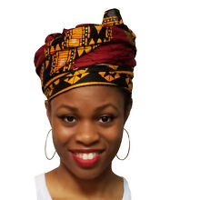 Burgundy Red African Print Head wrap, Tie, scarf, Multicolor 100% Cotton DPH549