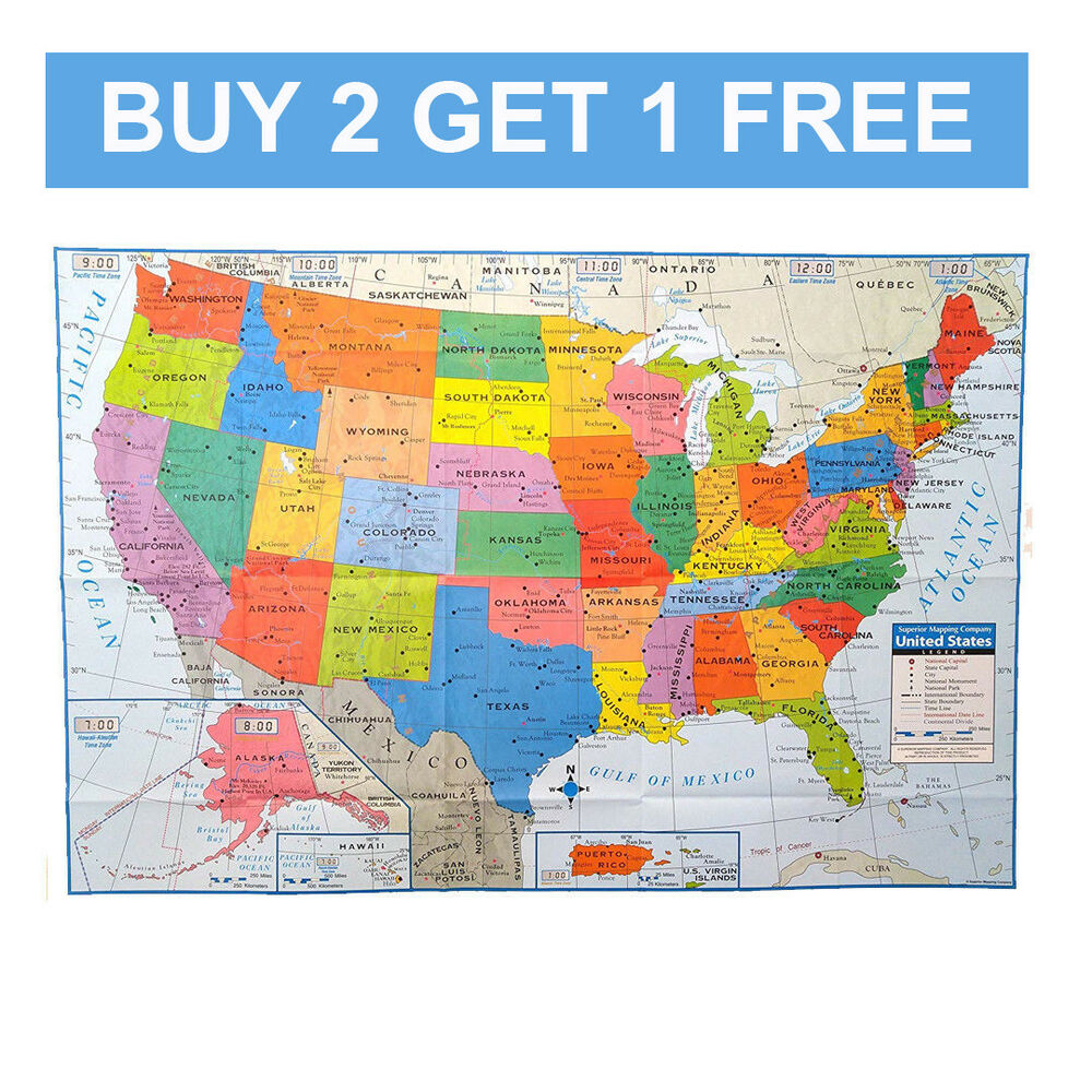 BUY 2 GET 1 FREE]USA MAP Poster Size Wall Decoration Maps/United ...