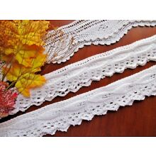 Vintage Hand-Knitted Handmade Pillowcase Lace - Three Finished Pieces for Edging