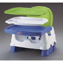 Fisher-Price Healthy Care Booster Portable Seat, Blue/Green, Removable Tray-USED