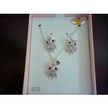 BRAND NEW GIRL'S BEST FRIEND PINK OWL PENDANT NECKLACE AND EARRING SET
