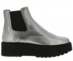 Hogan ankle boots silver leather size 38 wedge stivaletti chelsea booties f648091163b