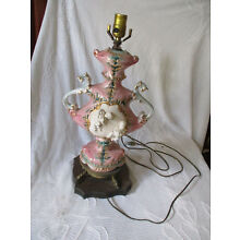 Vintage CAPODIMONTE Porcelain Cherub Footed Table Lamp Italy signed BEHROSE