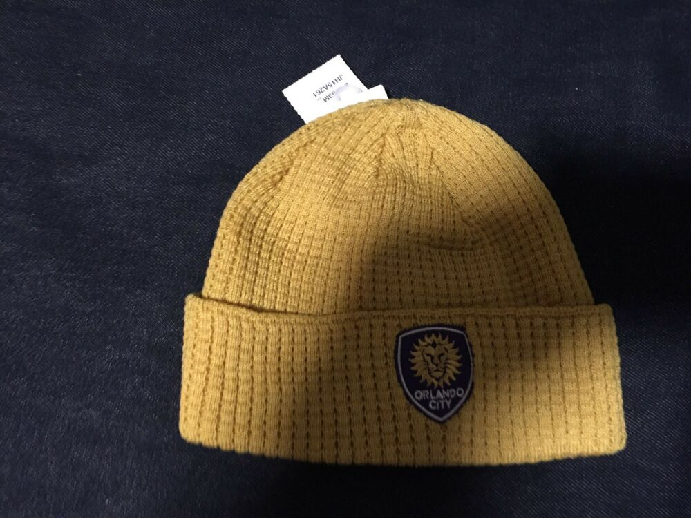 Details about ORLANDO CITY Adidas MLS Cuff Knit Hat Beanie GOLD Boys GIRLS  Kids 8 20 NWT 78e1af8440e