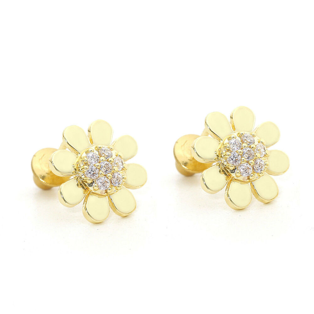 8eb7eb486 Details about 14K Yellow Gold Over Silver Sunflower Children Screw Back  Earrings