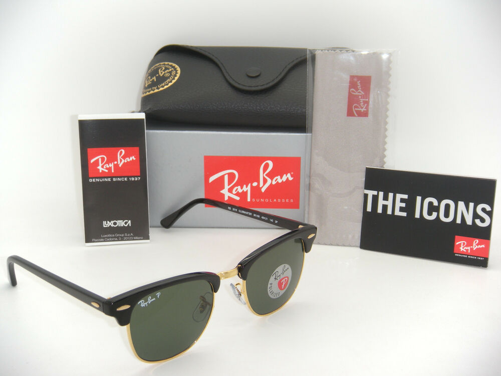 3922be9a9ce Ray-Ban Authentic Clubmaster RB 3016 901 58 Black Frame   Green Polarized  49mm 805289346890