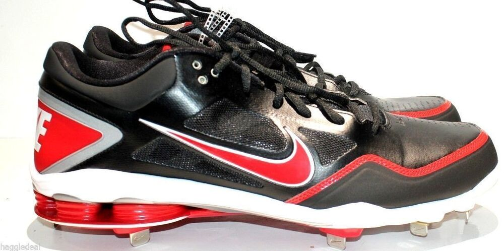 sports shoes e1604 15fa4 Details about NIKE AIR SHOX GAMER BASEBALL CLEAT SHOES FOR MEN SIZE 16  BLACK AND RED CLEATS