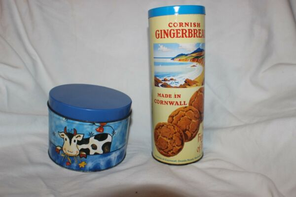 Cornish Gingerbread Furniss of Truro and Cow Tin Canister
