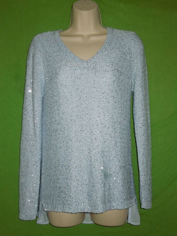 811a9e3fa9 Details about Apt. 9 size L blue sequins V-Neck sweater with sheer tank  lined long sleeve