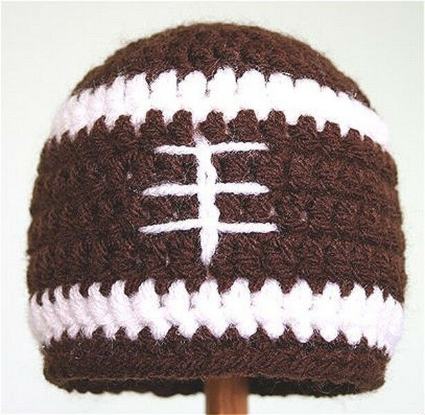 New All Sizes Hand Crochet Football Hat Beanie Made To Order Ebay
