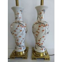PAIR of VINTAGE MID CENTURY ASIAN PORCELAIN VASE LAMPS WITH FLOWERS BUTTERFLIES
