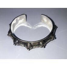 Moroccan Handcrafted Berber Tribal Cuff Sterling Silver Bracelet