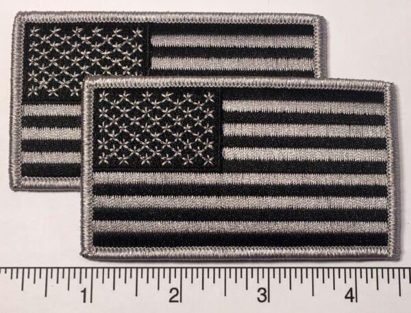 Pair (2): American Flag GREY Embroidered Patch 3.5x2
