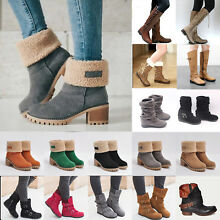 Womens Winter Warm Snow Boots Ladies Block Heels Ankle Booties Martin Shoes Size
