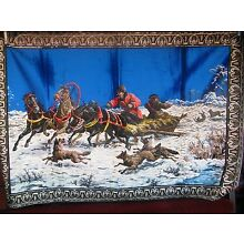 Velvet style wall hanging tapestry(Dog sled)
