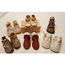 Antique Lot of 5 1/2 pairs Antique Baby Shoes
