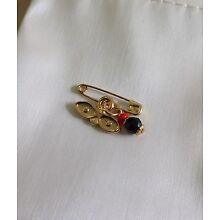 14k Gold Plated  Evil Eye Protection Simulated Azabache Baby Pin Brooch