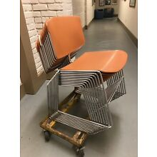 Vintage STEELCASE Orange MCM Steel Chrome Stacking Chair Chairs LOT