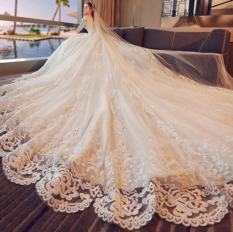 Luxury Wedding Dress With Cathedral Train Bridal Gown
