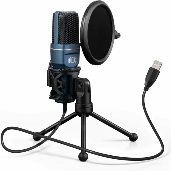 Tonor Microphone USB Micro PC Support Trépied Bureau PC Ordinateur YouTube Noir