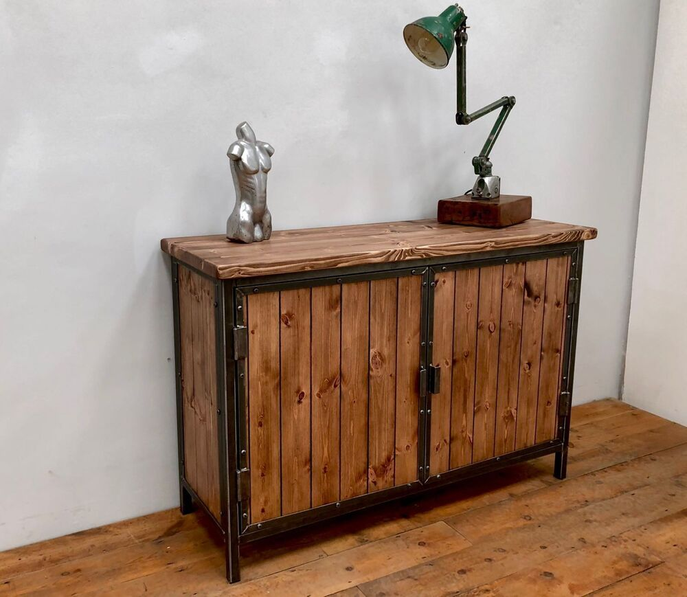 Details about rustic industrial style sideboard cupboard storage unit industrial furniture