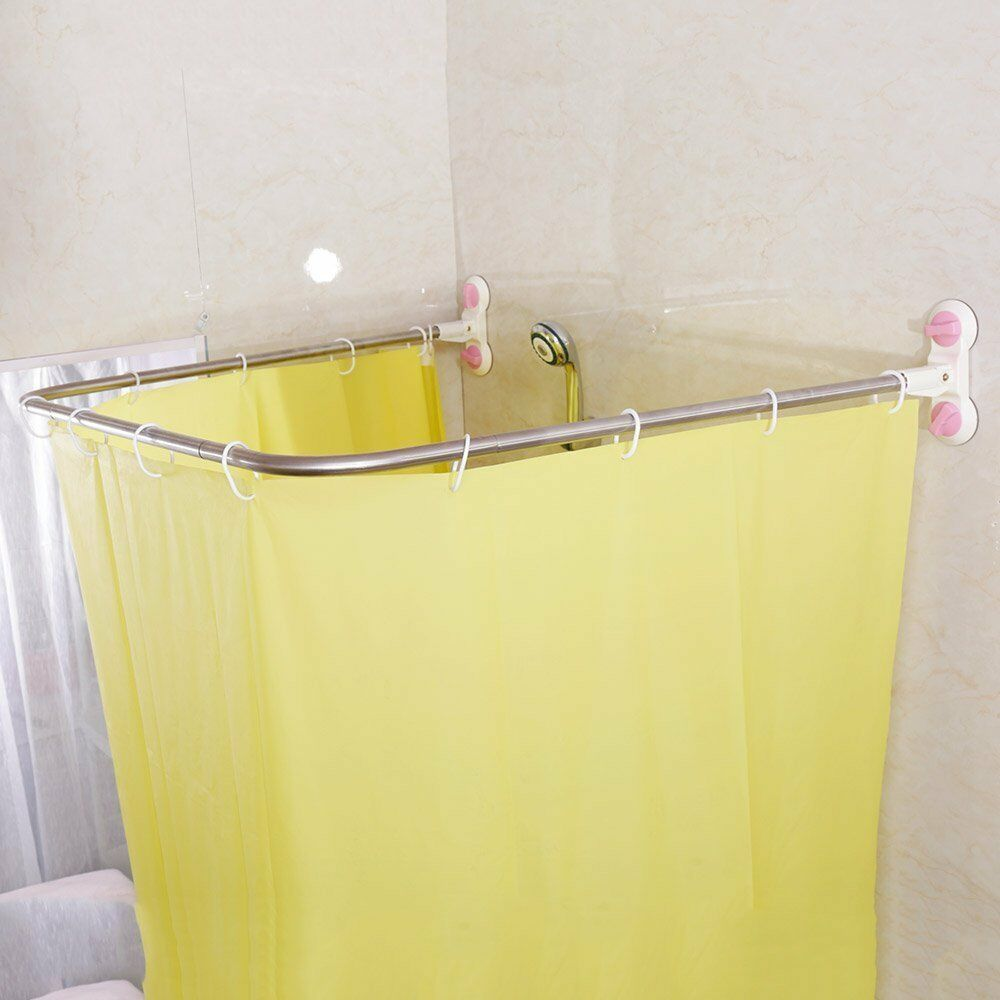 Details About Shower Curtain Rail Suction Cup Rod Bathroom U Shaped Hanging Rack 98x102cm