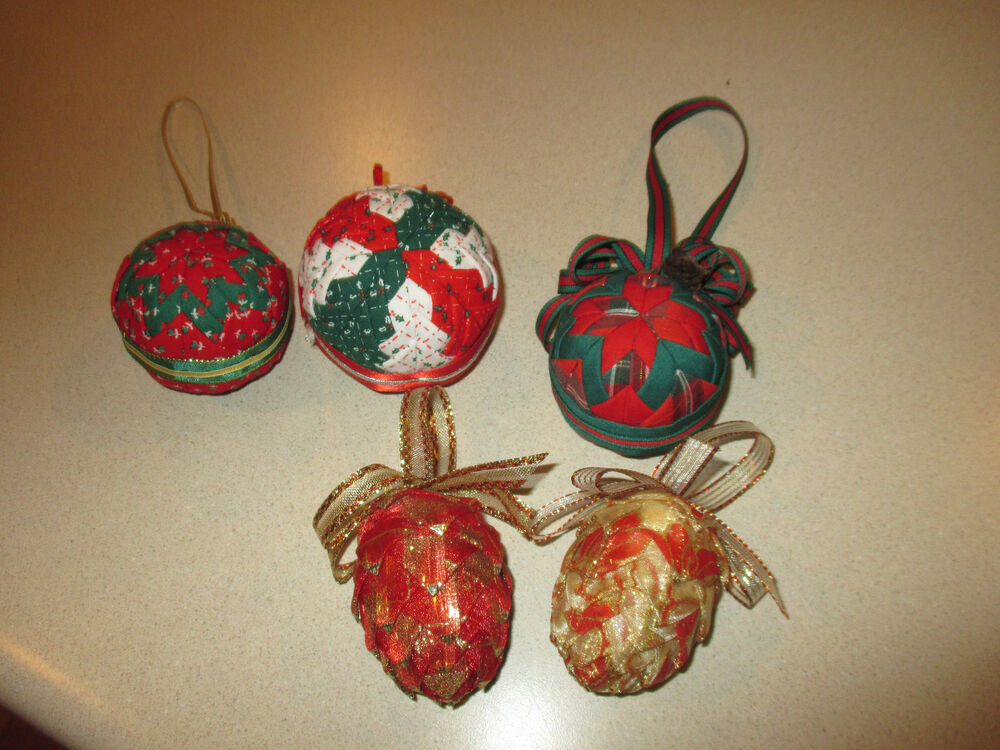 Lot of 5 Handmade Folded Fabric Christmas Ornaments ...