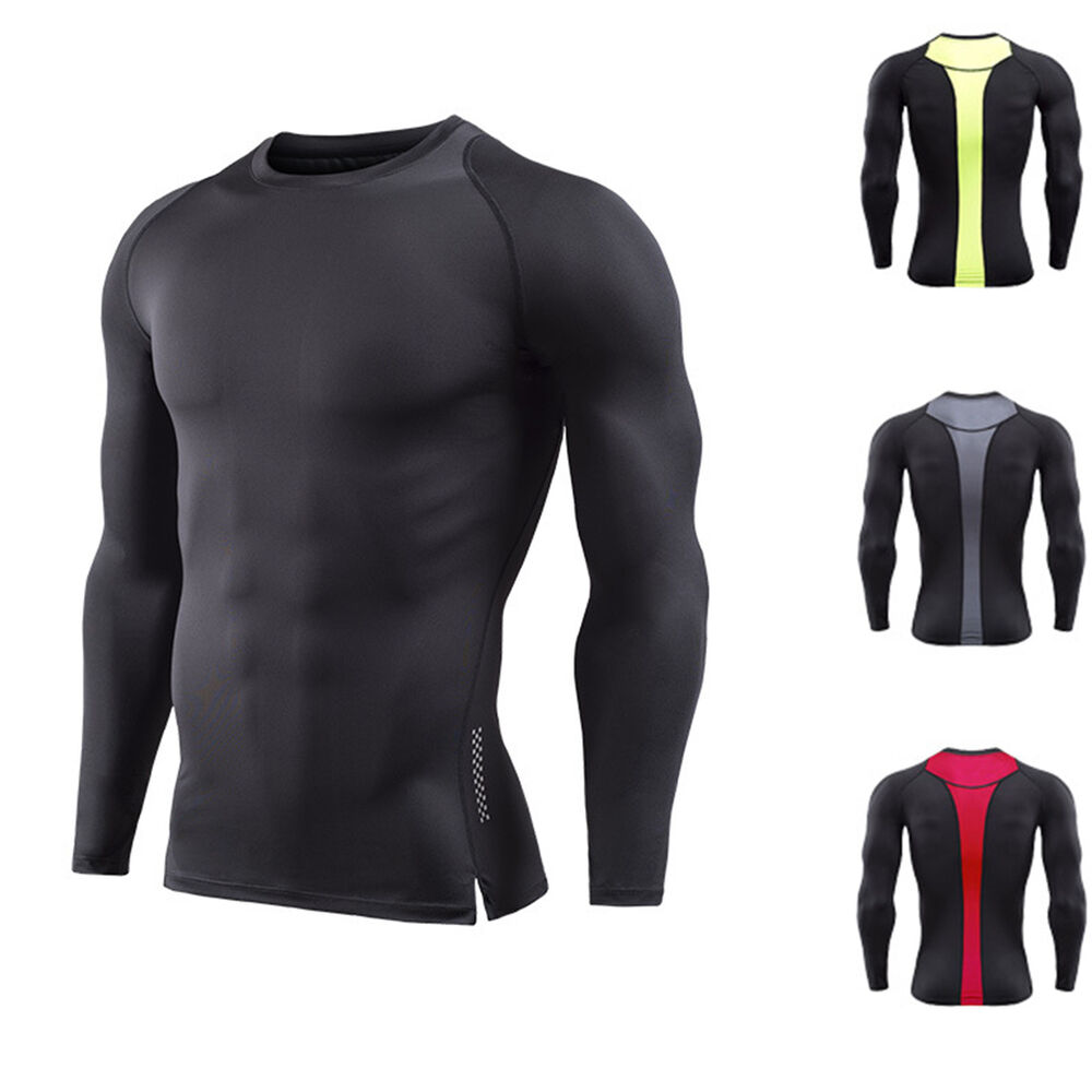 8f97e3d8622baf Details about Mens Athletic Shirt Compression Dri-fit Long Sleeve Gym Base  Layers Running Tops