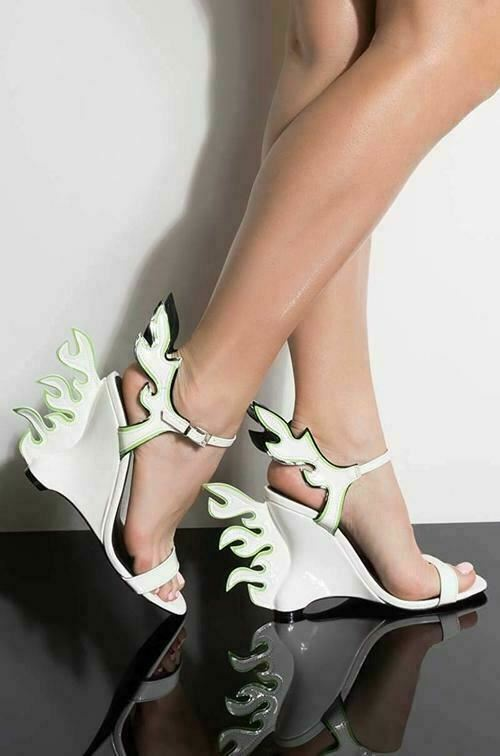 42c2e1895682 CAPE ROBBIN Hell Flame White Flame Accent Wedge Heel Sandal Designer Runway  Pump