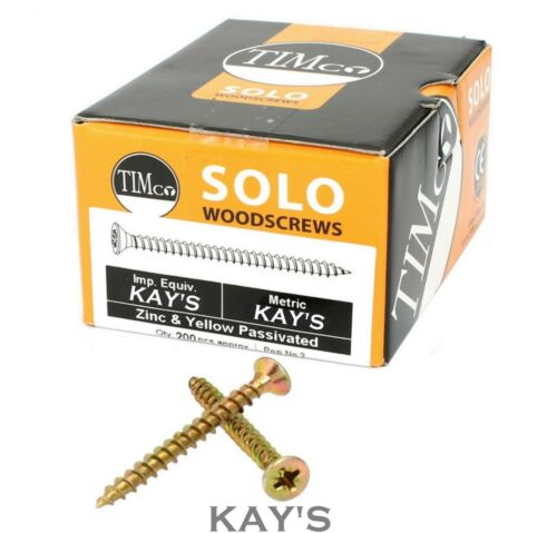 200 x TIMCO SOLO WOOD SCREW YELLOW POZI COUNTERSUNK WOODSCREW SCREWS 3g 4g 5g 6g
