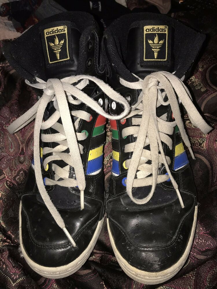 8636b67e6591 Details about Adidas Jeremy Scott RARE Black Green Red Yellow Blue Vintage  Olympic Colors Sz 9