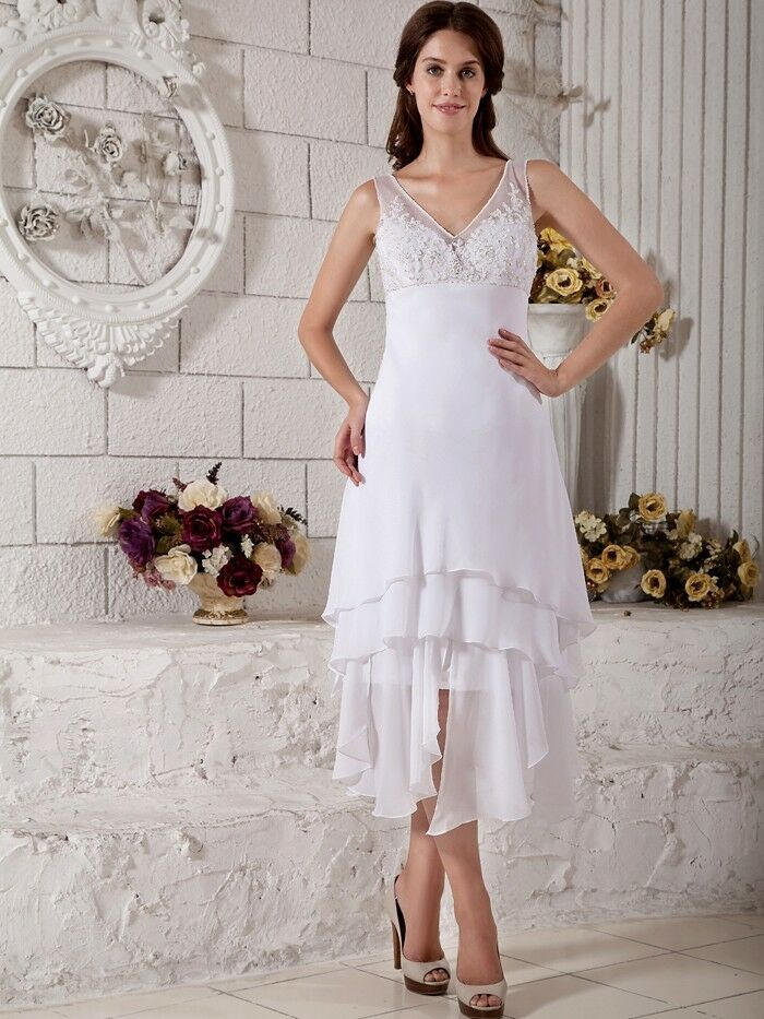 High Low Short Vintage Bridal Gown Tea Length Informal Beach Wedding