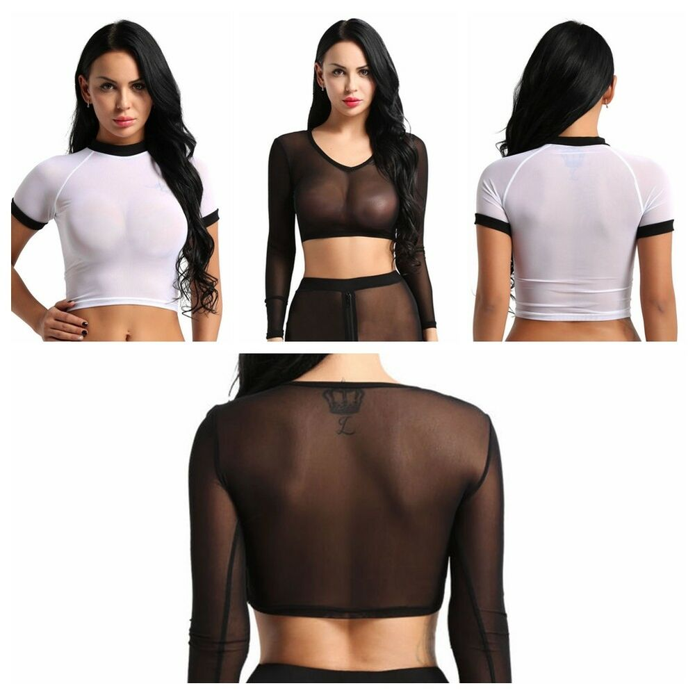 323d53446434 Details about Fashion Womens Crop Top Mesh Sheer See Through Long Sleeve  Stretch Vest T Shirts