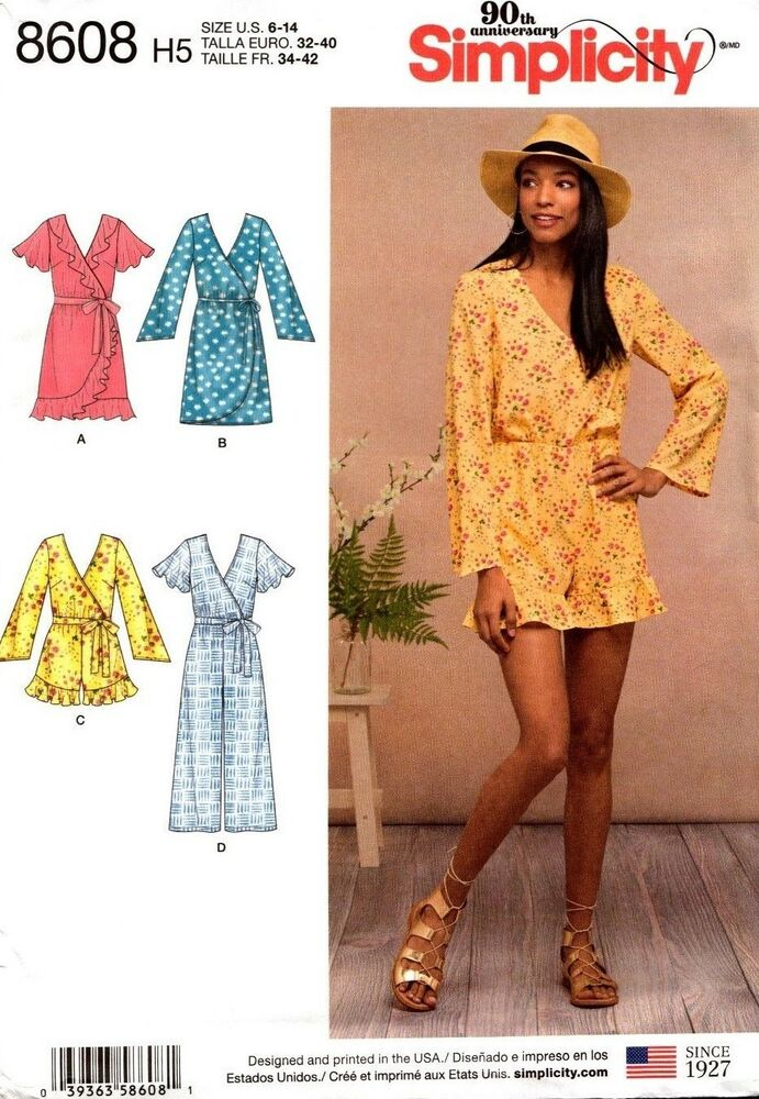 5835f36b1cc Details about Simplicity Sewing Pattern 8608 Womens Wrap Dress Jumpsuit  Size 6-14