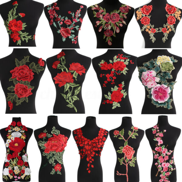 Embroidered Red Rose Flower Embroidery Iron On Appliqué Patch Bust Dress Craft