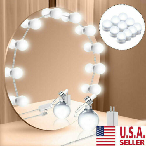 Hollywood Style LED Vanity Mirror Lights Kit for Makeup Dressing 10 Bulbs USA