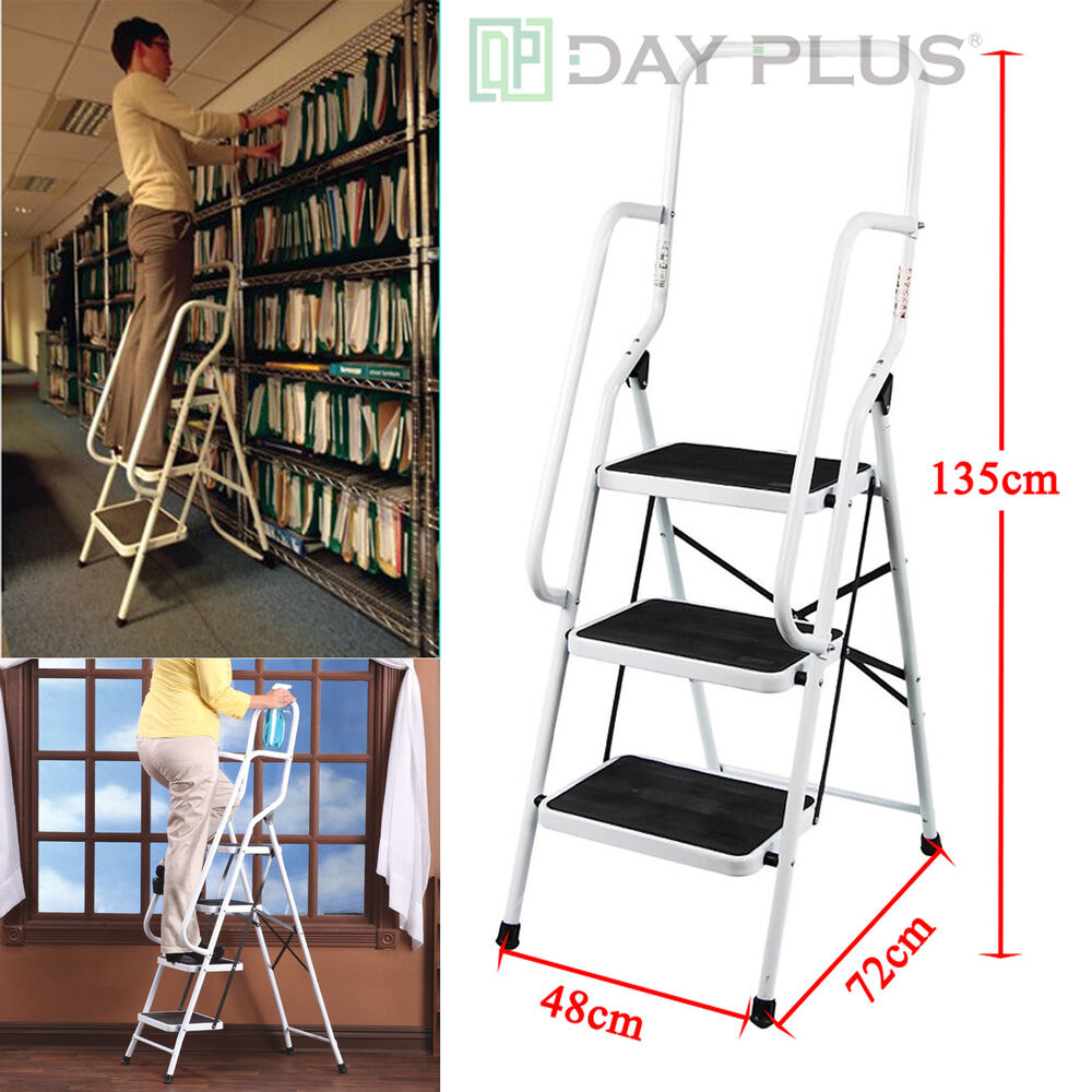 3 Step Ladder With Safety Handrail Handle Foldable Non